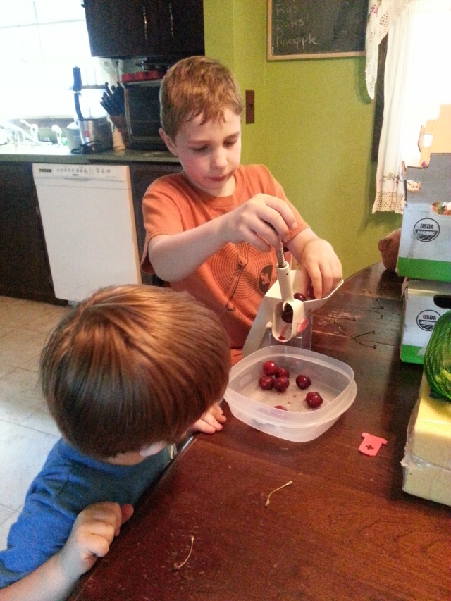 The boys are working hard to get those cherries in the freezer. (Well, what didn't go into their mouths any way.)