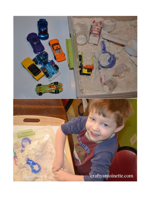 The first thing I had to pull out was Cloud Dough... with cars and cups (and a couple of construction vehicles). (Click on picture for RECIPE.)