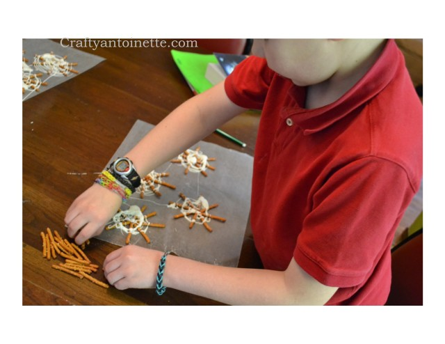 Spider Web Snack using pretzels and almond bark.