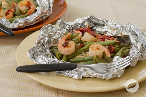 Shrimp and Rice Foil Packets