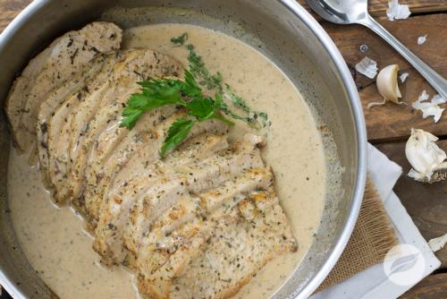 27 Pork Loin with Garlic and Wine Cream Sauce