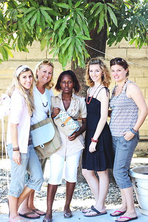 Founders Chelsie Antos, Holly Wehde, one of the artisans, Elisabeth Huijskens, and Gretchen Huijskens.